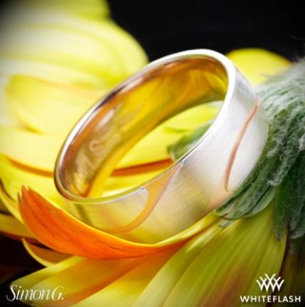 Simon G. LG133 Men's Wedding Ring - Whiteflash _ 4078