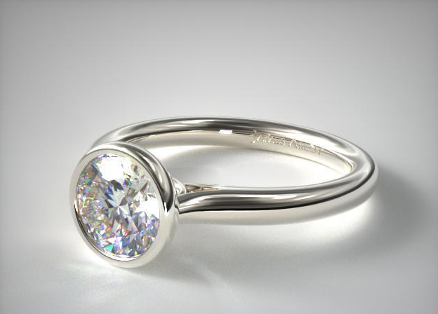 James Allen Platinum Bezel Set Diamond Engagement Ring