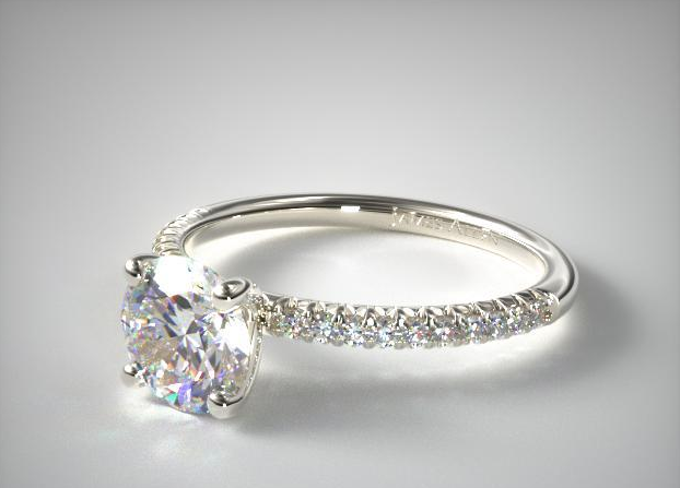 James Allen 14K White Fold Petite Pavé Engagement Ring