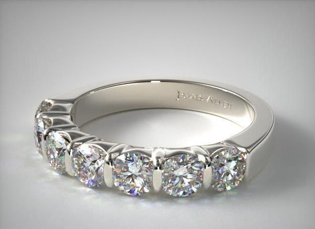 James Allen 18K White Gold 1.00CTW. Bar Set Diamond Anniversary Ring