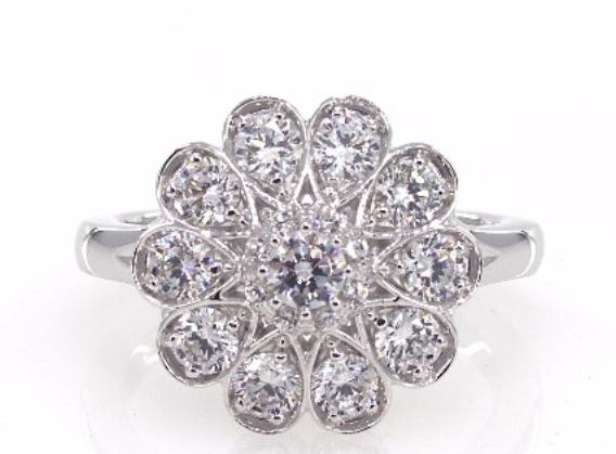 James Allen 14K White Gold Grande' Floral Diamond Cluster Engagement Ring