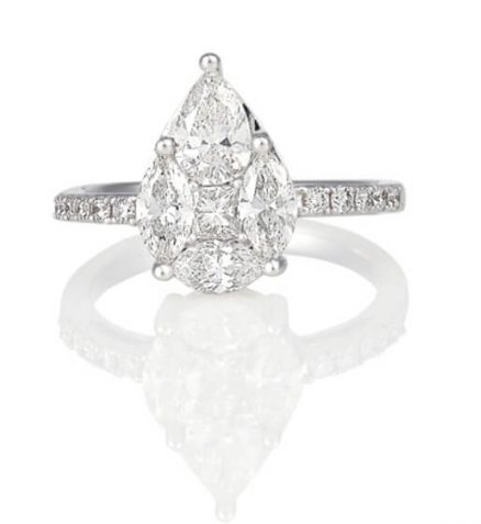 Illusion Set Pear Shape Engagement Ring