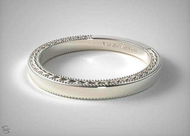 14K WHITE GOLD ETCHED ROPE WEDDING BAND James Allen