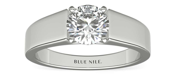 Flat Solitaire Engagement Ring in 14k White Gold (5mm) - Blue Nile