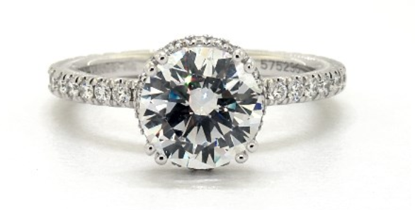 14K WHITE GOLD TRADITION HIDDEN HALO ENGAGEMENT RING BY VERRAGIO
