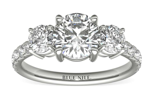 Three-Stone Pavé Diamond Engagement Ring in 14k White Gold (1_4 ct. t_ - www.bluenile.com