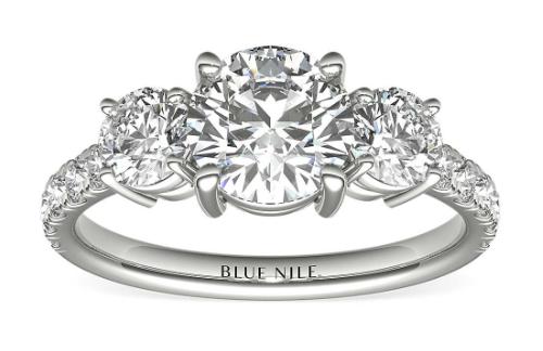 Three-Stone Pavé Diamond Engagement Ring in 14k White Gold (1_4 ct. t_ - www.bluenile.com