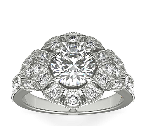 Blue Nile Truly Zac Posen Floral Halo Diamond Engagement Ring