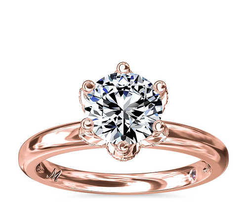 Monique Ihuillier petal solitaire engagement ring rose gold
