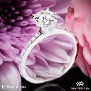a 4 prong solitaire with diamonds on the band