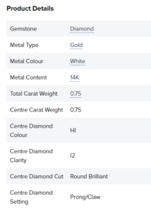 basic specifications for a paris jewellers engagement ring