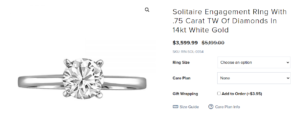 a paris jewellers 14k engagement ring with round brilliant diamond